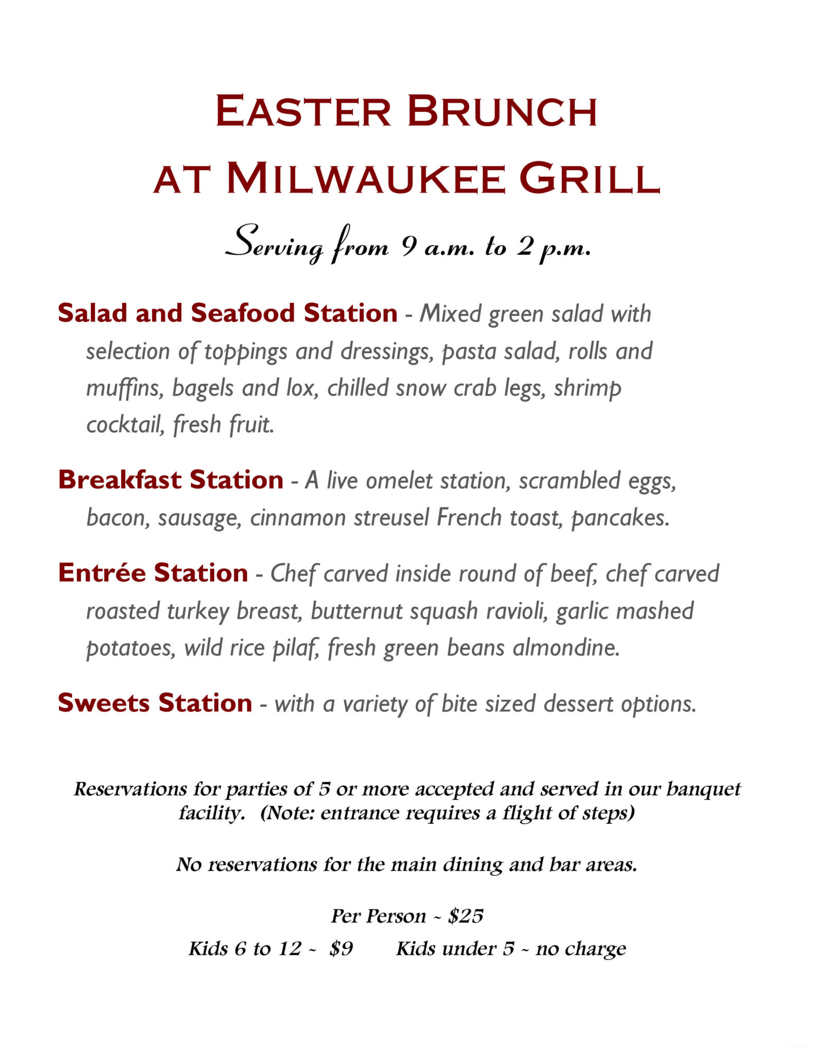 join us for easter brunch 2016 on march 27 milwaukee grill rh milwaukeegrill com easter buffet menus broward county easter buffet menus broward county